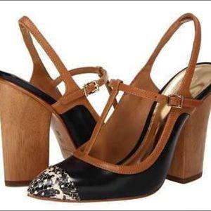 Coach Frankie t-strap slingback w/wood heel sz 8